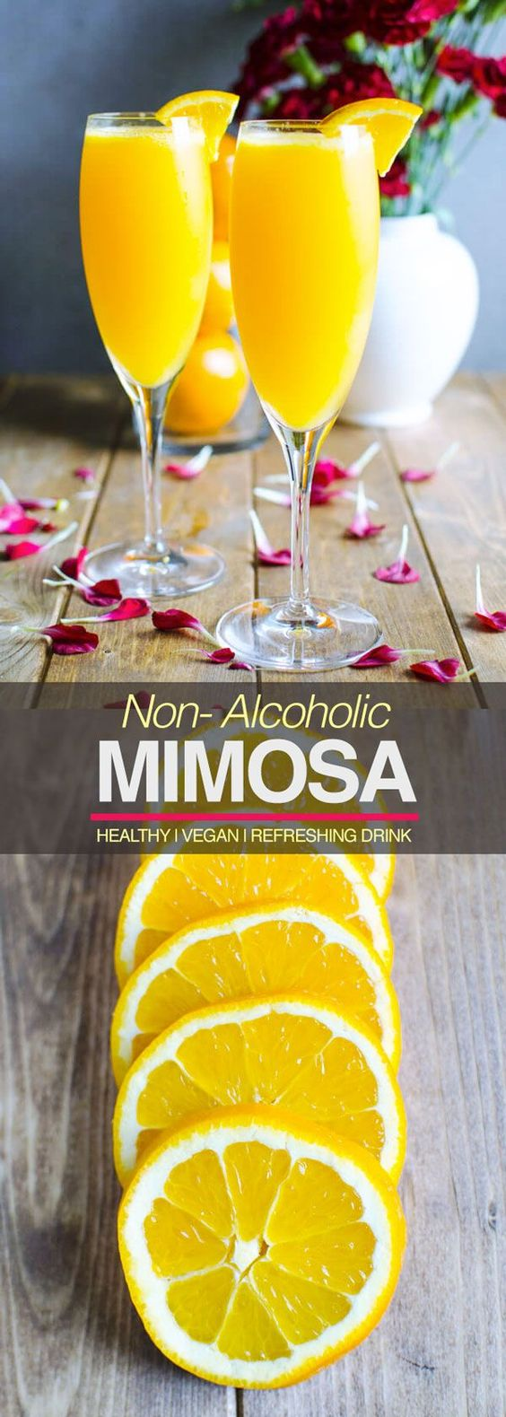 Best Non-Alcoholic Mimosa Recipe via Watch What U Eat - 2 ingredients, simplest, and quickest an amazing brunch drink. It is also healthy, non alcoholic & a naturally sweetened drink! The BEST Easy Non-Alcoholic Drinks Recipes - Creative Mocktails and Family Friendly, Alcohol-Free, Big Batch Party Beverages for a Crowd! #mocktails #virgindrinks #alcoholfreedrinks #nonalcoholicdrinks #familyfriendlydrinks #partypunch #partydrinks #newyearseve #partydrinkrecipes