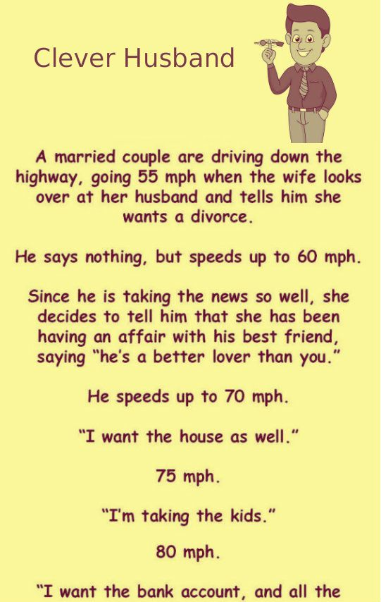 Wife Told Husband That She Want Divorce Laughers Club Funny Marriage Jokes Husband Humor Marriage Jokes