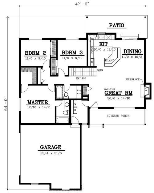 Bungalow floor plans bungalows and floor plans on pinterest for 1400 sq ft floor plans