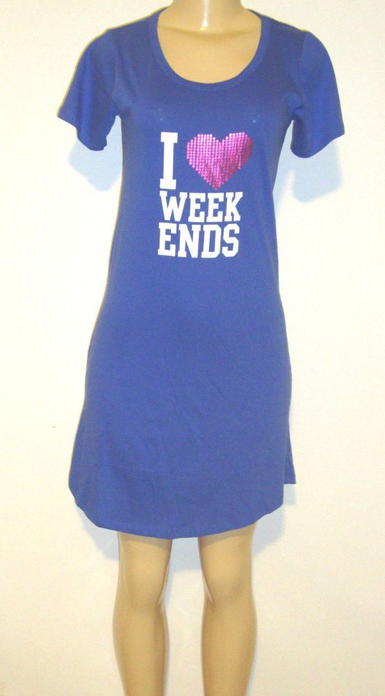 Rampage Sleepwear MEDIUM Nightgown I LOVE WEEKENDS Foil Heart Purple NEW $32 TAG #Rampage #Gowns