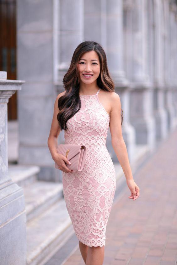 Blush Wedding Dress Petite : Pink lace blush and on