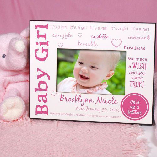 We Made A Wish Personalized New Baby Girl Printed Picture Frames ...