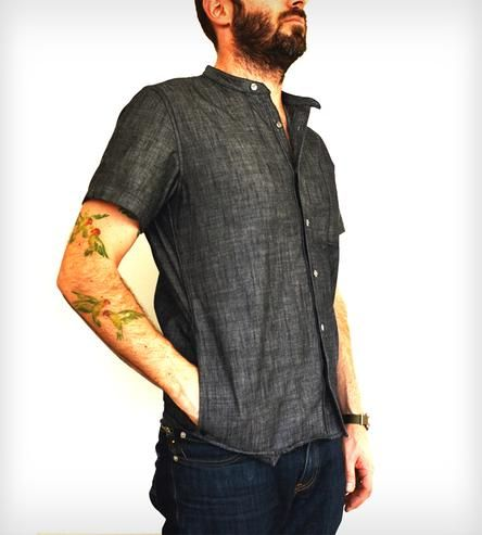 A super stylish chef's work shirt in chambray. Tailored, cool and lightweight. This ain't your dishwasher's shirt. From Tilit Chef Goods.