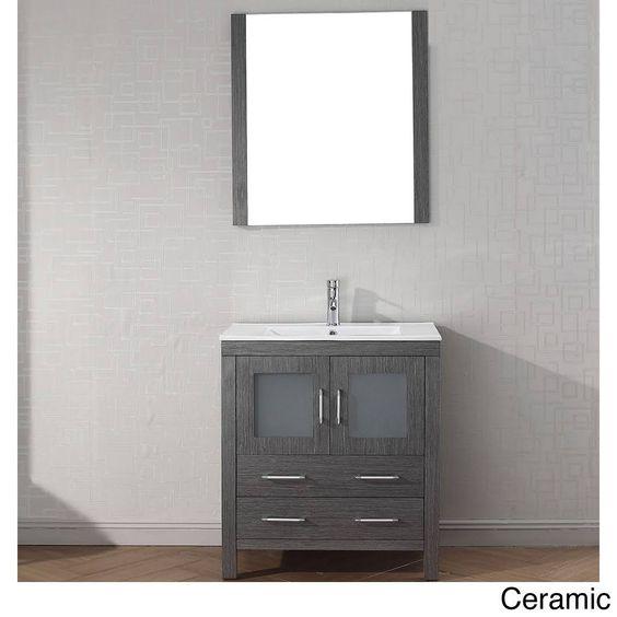 Photos On Virtu USA Bathroom Dior in Vanity in Zebra Grey with Ceramic Vanity Top in