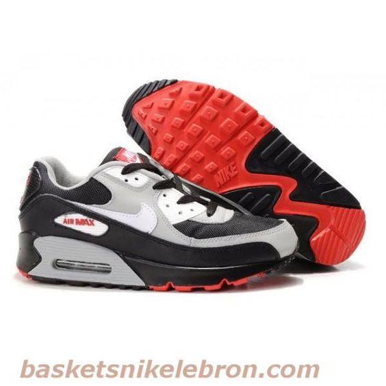 Nike Air Max 90 Blanc / Noir / Gris Homme Air Max Femme Vente