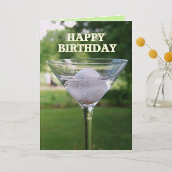 Martini Golf Ball Happy Birthday Card Zazzle Com Alles Gute