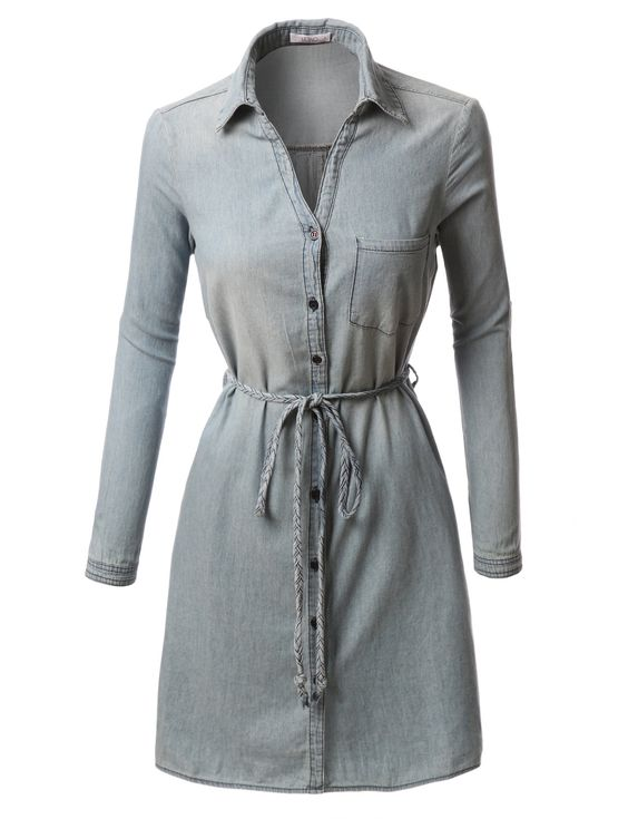 Womens chambray button down long sleeve shirt dress with for Belted chambray shirt dress