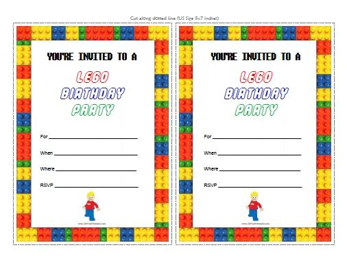 Lego Party Invitations Printable Free Lego Pinterest – Free Boys Birthday Invitations