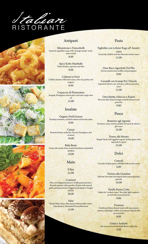 Italian restaurant menu design italian restaurant for Cuisine designer italien