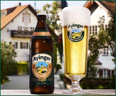 Cerveja Ayinger Jahrhundert Bier, estilo Dortmunder Export, produzida por Ayinger, Alemanha. 5.5% ABV de álcool.