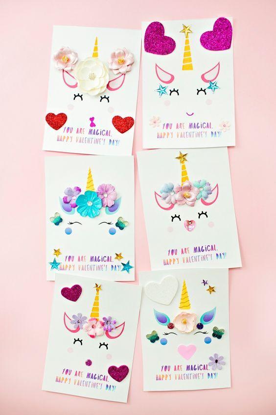 Diy Unicorn Valentine Cards Unicorn Valentine Cards Unicorn Birthday Cards Valentines Cards