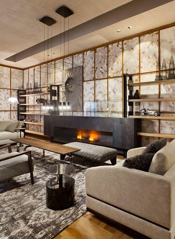 tendance décoration intérieur-  feu de cheminée