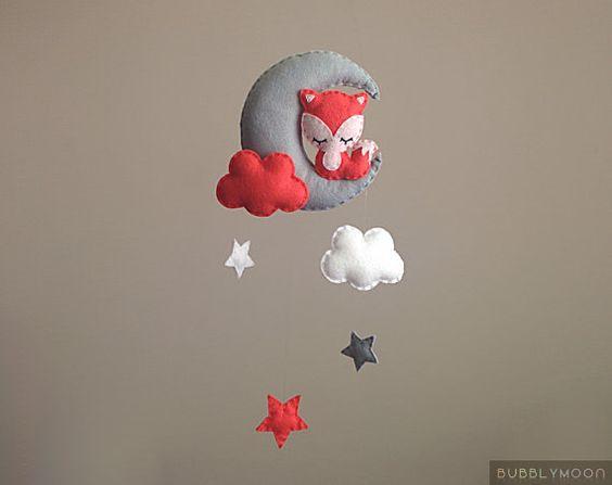 Fox Baby Mobile, Modern Nursery Decor, Moon Baby Nursery Mobile, Baby Mobile- Cot/ Crib Mobile - Coral/ Pink Nursery Decor