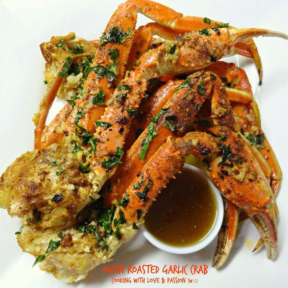 Oven roasted garlic crab legs!