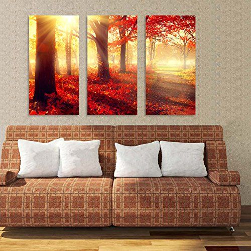 Amazon Com Bil Yopin 3 Panels Stretched Canvas Prints Beautiful Red Forest Landscape Modern Wall Art Paintings For Animal Wall Art Painting Wall Art Painting Amazon paintings for living room