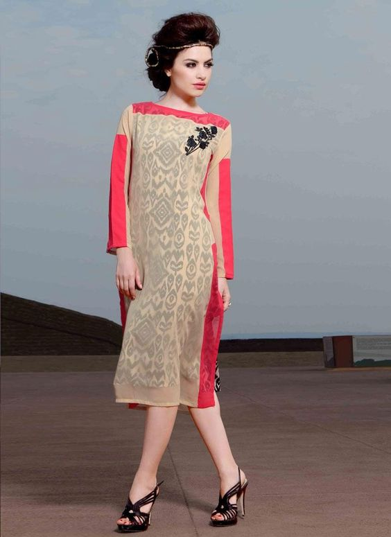 Cream Colored Georgette And Resham Worked Readymade Georgette Kurtis - by Godomart