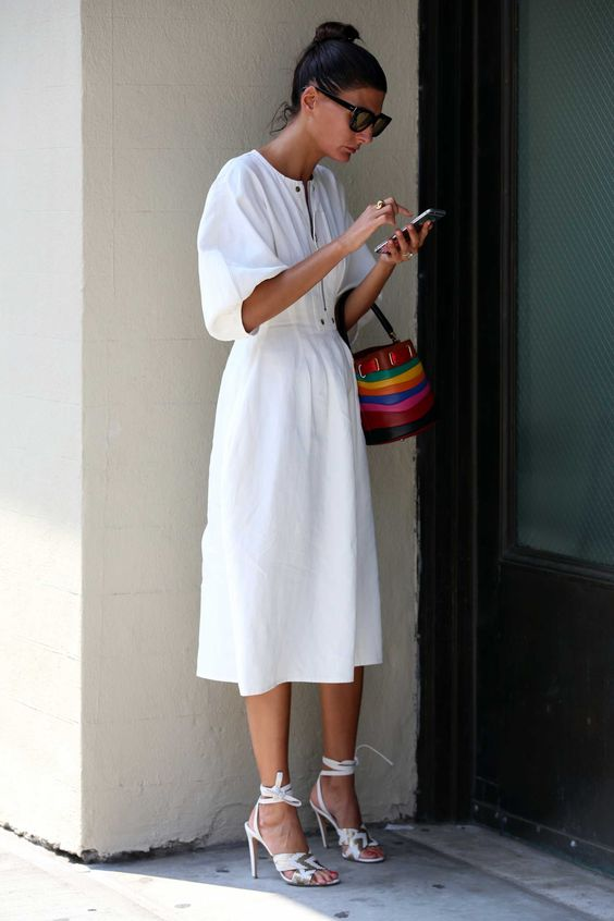 Giovanna Battaglia on the street at New York Fashion Week. Photo: Angela…