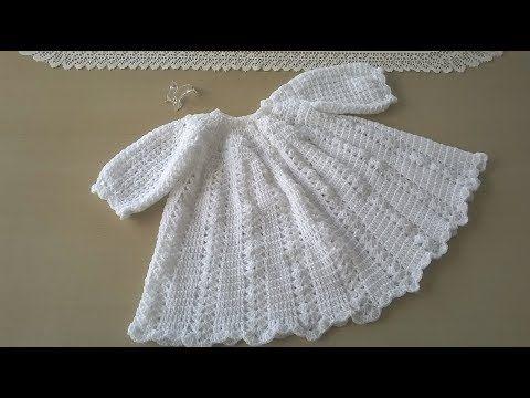 Ropón O Faldón De Bautizo Youtube Vestidos Para Bebé De Ganchillo Vestidos Para Bebés Ropa De Bebé De Punto