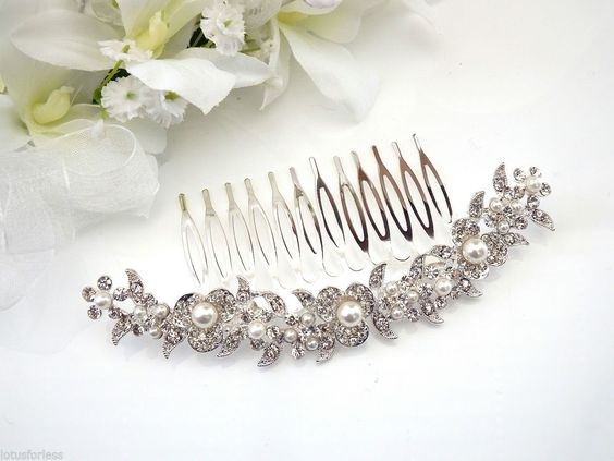 Beautiful Bridal Hair Comb Slide Hair Jewellery Crystal Pearl Flowers Prom