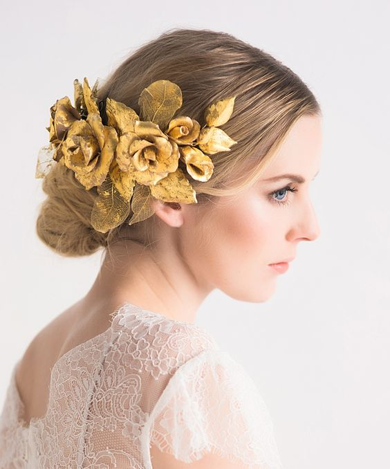 Floral headpiece with pure 24 ct gold leaf handcrafted by Lila. www.lila-lila.com: