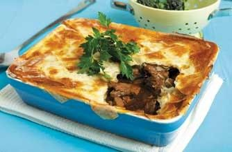 Rosemary Conley's beef steak pie   Packed with lean beef, root veggies, onions, garlic and fresh thyme, this hearty steak pie made with filo pastry is just delicious.