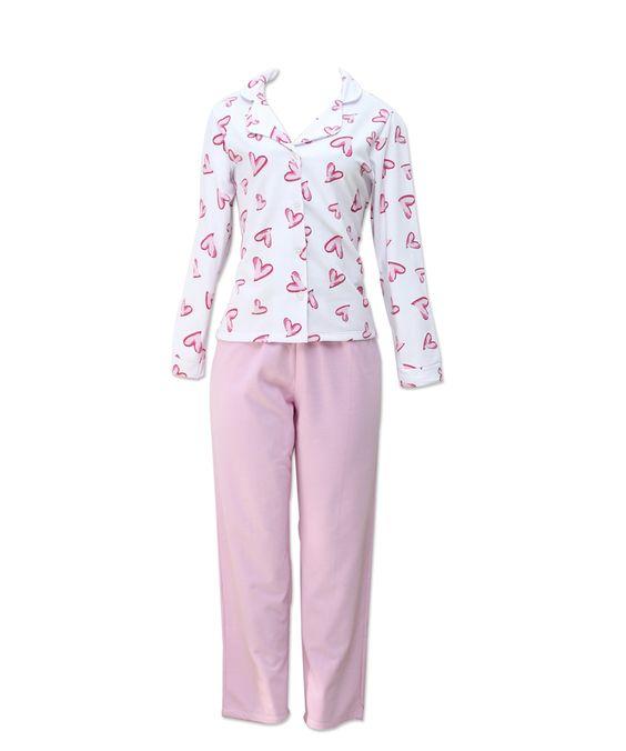 Pijama manga longa flanelado com botões na camisa.