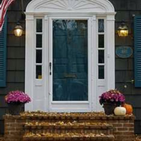 Teal Shutters: This Color Teal Front Door With Our White Siding And