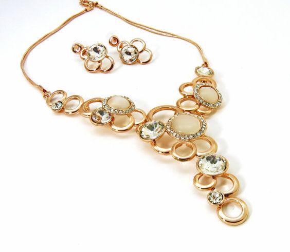 Rose Gold Crystal and Champagne Necklace with by crystaljemscouk