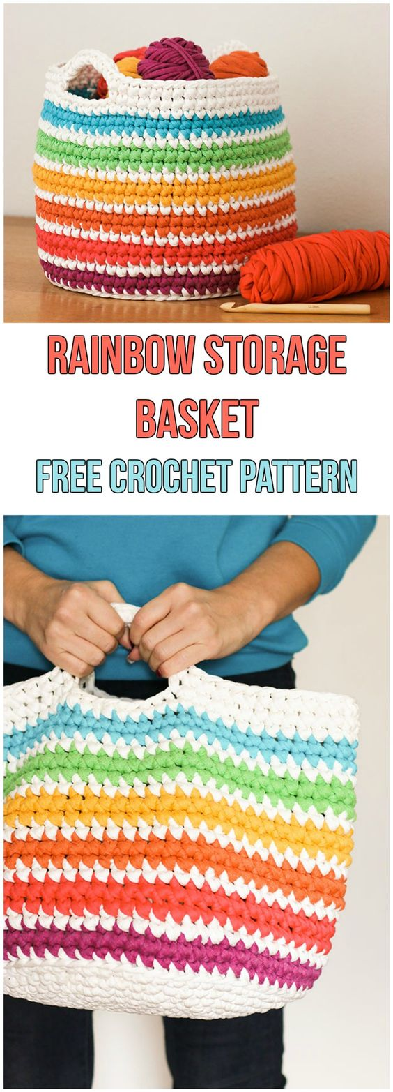 Rainbow Storage Basket Free Pattern #crochet #crochetpattern #freepattern #rainbow #baskets #storage #colour #colourful