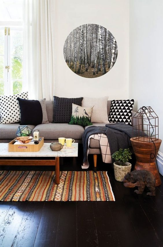 Incorporate your love of the outdoors into your home with unfinished wood  side tables + organic