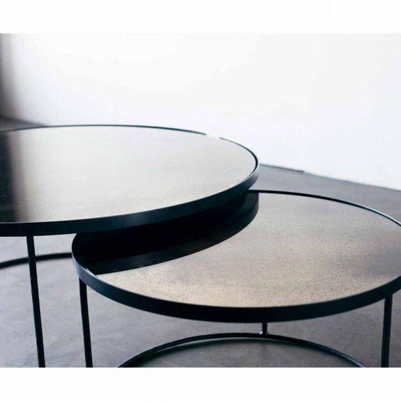 Notre Monde Loungetische Rund Glossy Metall Glas 2er Set Schwarz Grau Lounge Tisch Couchtisch Rund Lounge