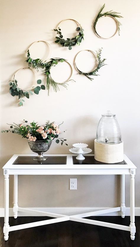 Easy floral wreath diy. Embroidery hood floral wreaths. Simple green wreaths. Eucalyptus wreath, boxwood wreath. Greenery hoops. Simple and easy home decor diy. How to style a buffet table. White antique buffet table. Buffet table makeover