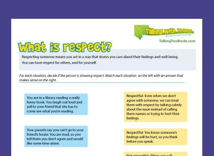 What is respect free printable character education worksheet ...