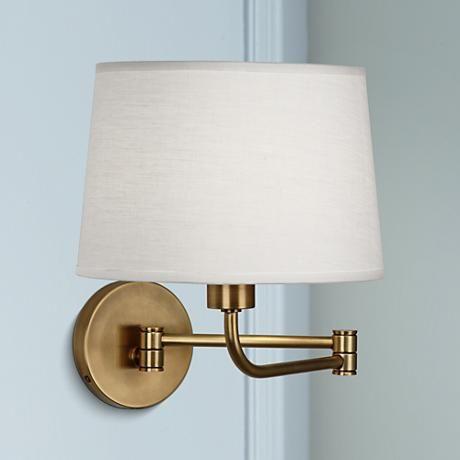 Bedside Lighting - Robert Abbey Koleman Brass Plug-In Swing Arm Wall Lamp