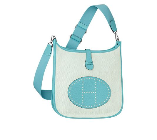 Evelyne III Hermes shoulder bag in ecru twill H canvas/atoll blue ...