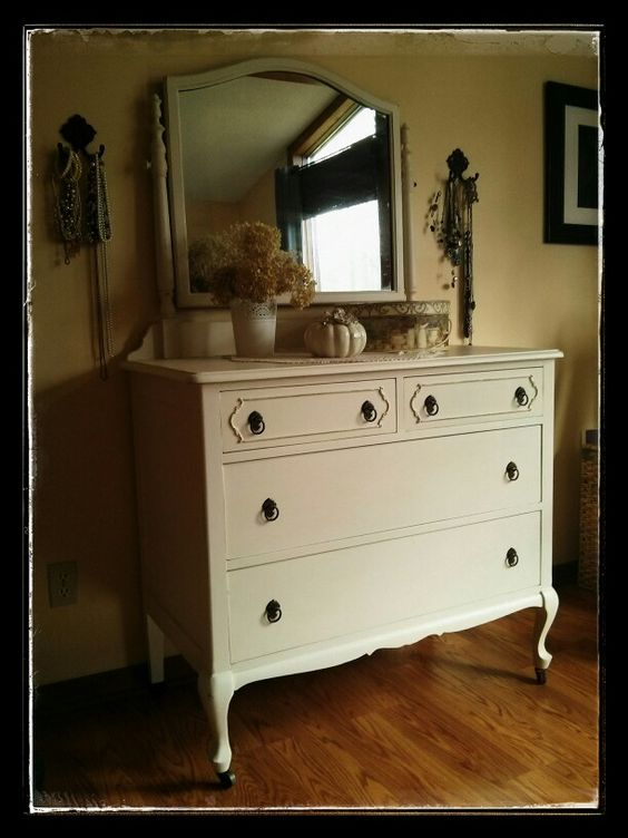 Early1900's walnut dresser painted and slightly distressed. Shabby/french chic! www.facebook.com/thecottageshed.