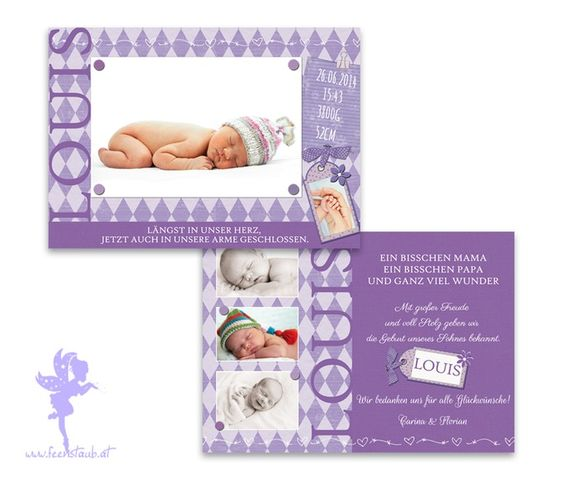 Babykarte Geburtskarte Louis von Feenstaub auf DaWanda.com