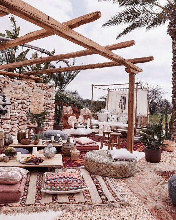 Boho Event Setup In 2020 Bohemian Outdoor Bohemian Garden Boho Outdoor