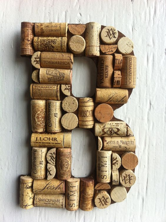 Handmade Letters and symbols made of Wine Corks. $24.99, via Etsy.