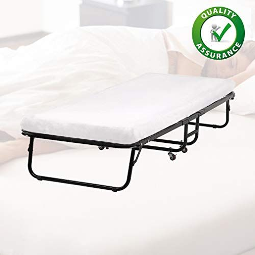 Bestmassage Guest Folding Bed Frame Camping Bed Cot Size Heavy Duty With Foldaway Extra Portable 3 Inch Comfort Foam Folding Beds Camping Bed Folding Bed Frame