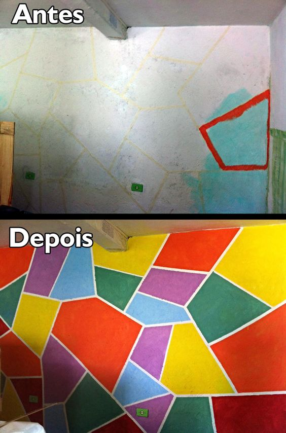 Estamos reformando o atelier e resolvi fazer uma pintura diferente em uma das paredes. Usei fita crepe, sobras de tinta, corantes e criatividade. Pra que seguir padrões estipulados? Em casa de artista plástico, não tem neurose.
