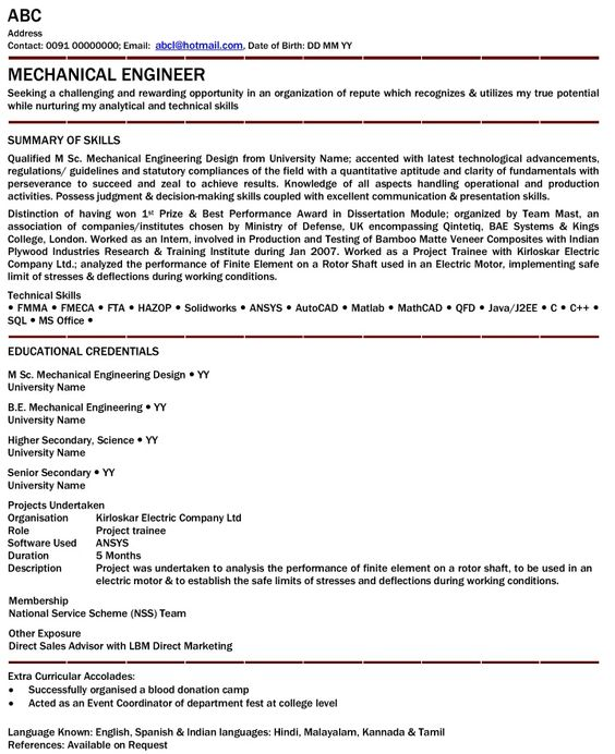 A mechanical engineer resume template gives the design of the - direct sales resume
