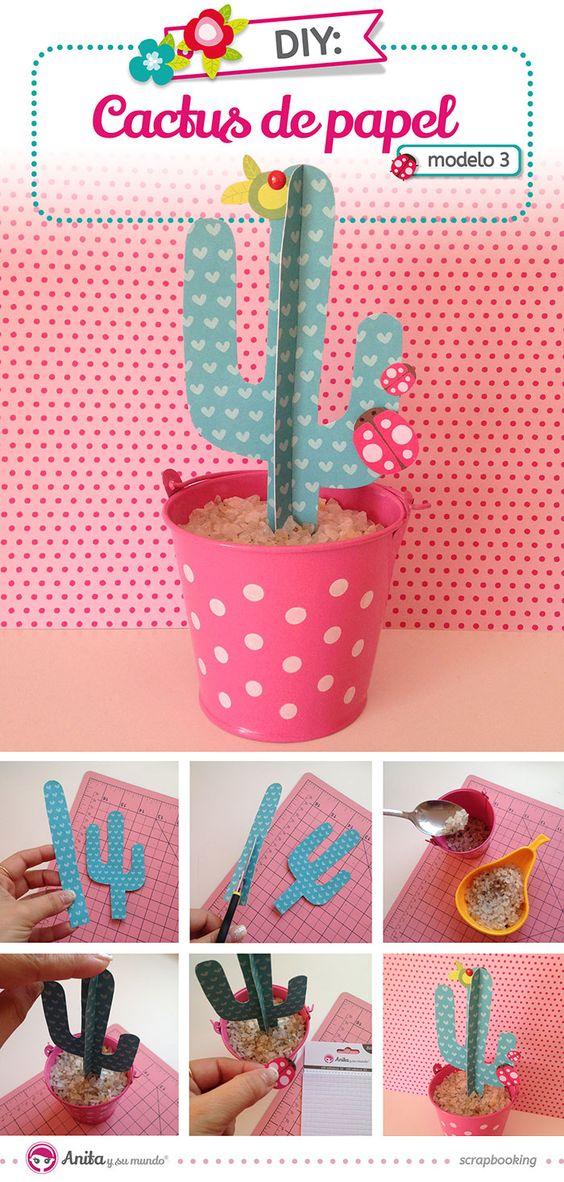 Aprender como hacer cactus de papel scrap con este tutorial paso a paso. Una bonita manualidad con la que crear tus propias flores de papel.