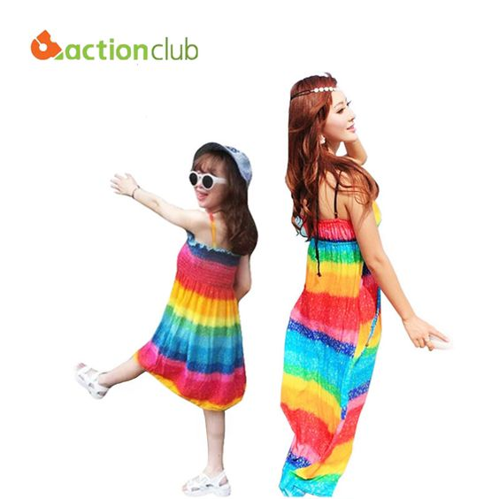 2015 family clothing mother and daughter dress rainbow pattern women dresses mom and daughter dress for girls and mom KD354