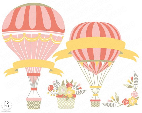 Flower Baskets Vector : Vintage hot air balloons vector flower basket floral