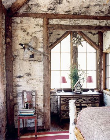 Birch Bark Walls In This Adirondack Style Bedroom Mimi