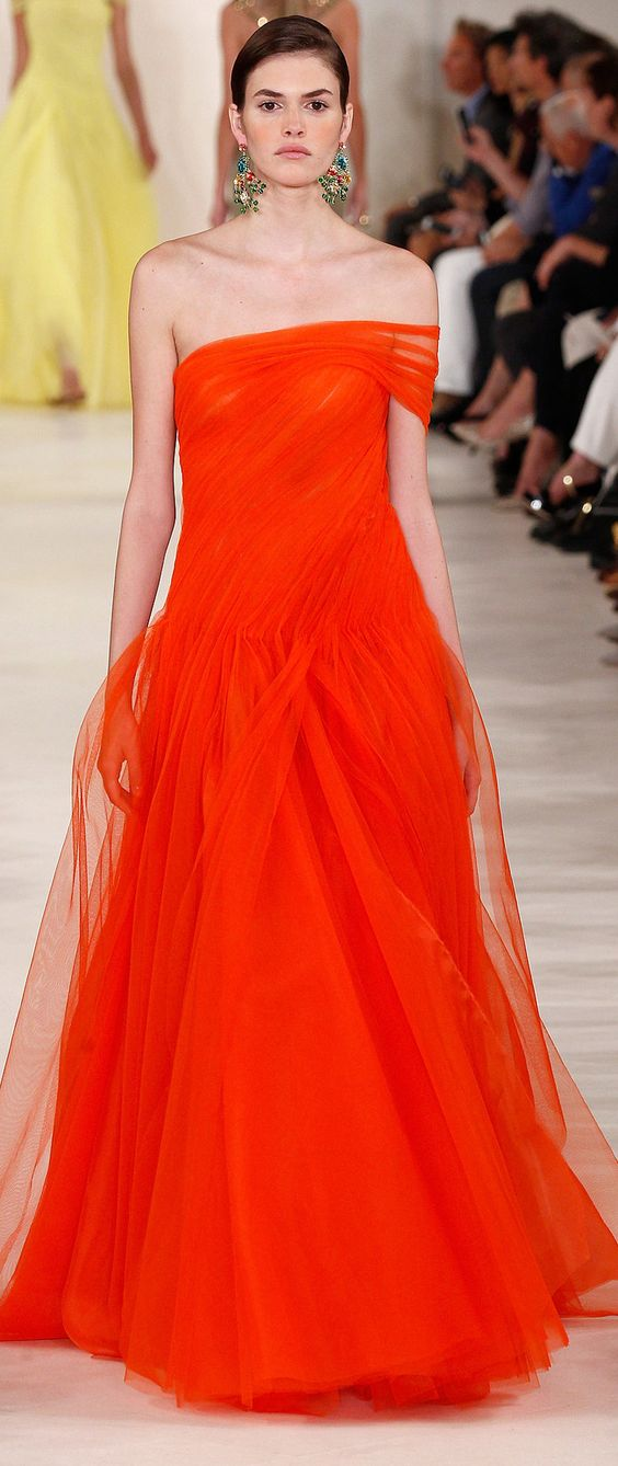 Ralph Lauren Collection Spring 2015 #NYFW Would look great with Tangerine Tango or Tigerlily Pantone themes from Brightkey!
