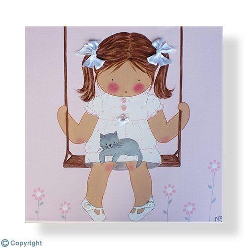 Cuadro infantil personalizado: Niña en un columpio (ref. 12056-02)