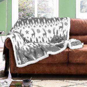Flannel Sherpa Fairisle Grey Luxury Sofa Bed Bed Blanket