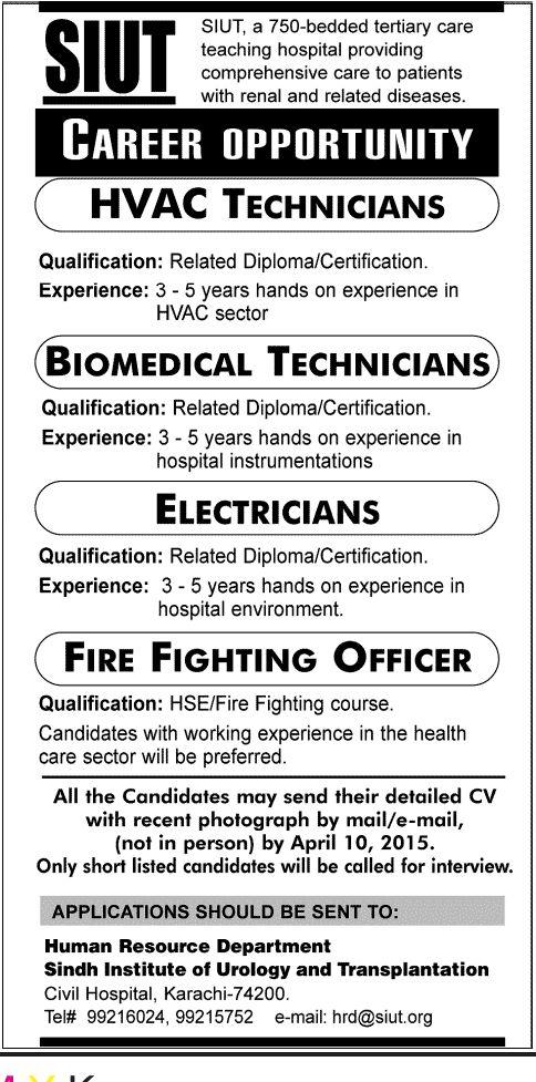 Sindh Institute of Urology and Transplantation Karachi JobsHVAC - hse officer sample resume